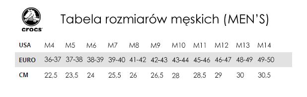 autoryzowana strona odebrane gorąca wyprzedaż Tabela rozmiarów Crocs - TrygonSport.pl - sport & street
