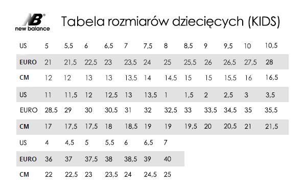 najlepsze podejście najlepsze oferty na świetna jakość Tabela rozmiarów New Balance - TrygonSport.pl - sport & street