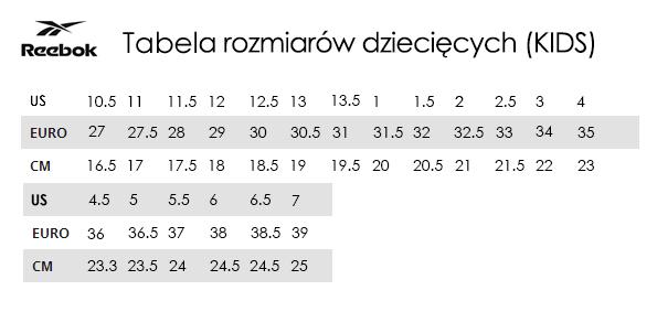 Tabela rozmiarów Reebok TrygonSport.pl sport & street